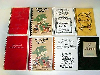 Lot 8 Spiral Cookbooks Church, School, Fundraisers - Spirals in Good Condition