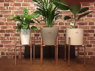 Hand Made Copper Plant Stand - Mid Century Modern, Industrial, Rose Gold Look