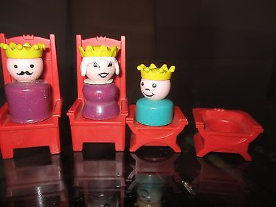 Vtg Fisher Price Castle Little People King Queen Prince Tall & Short Thrones 993