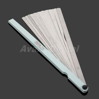 1x 300mm Long Feeler Gauge Carbon Steel 17 Blades Metric Gage Tool For Measuring