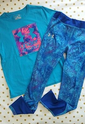 Under Armour YOUTH Sz Large Blue Tshirt with Blue Purple fitted abstract legging