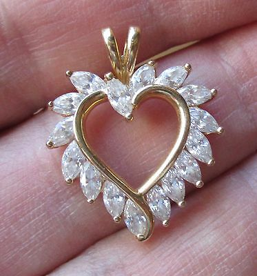 14K Solid Gold Heart Pendant With Large Marquise Czs, Price Reduced!