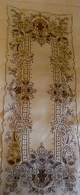 Exquisite Off White Ecru Linen Embroidered Table Runner Madeira