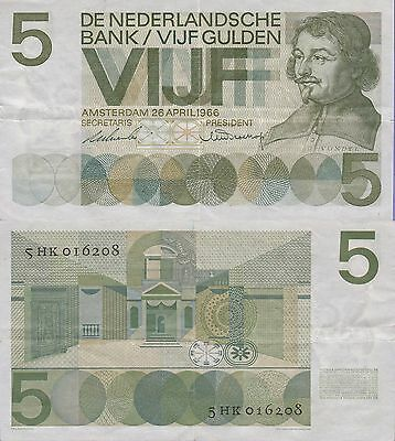 Netherlands 5 Gulden Banknote 1966 Very Fine Condition Cat#90-A-6208