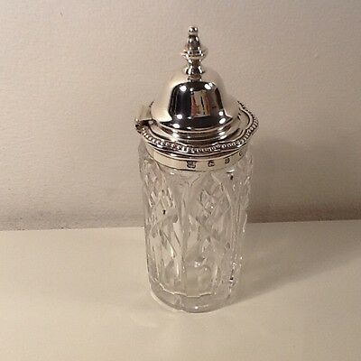 Victorian Cut Crystal & Silver Hallmarked Mustard Pot ,IFP over C& Co,quatrefoil