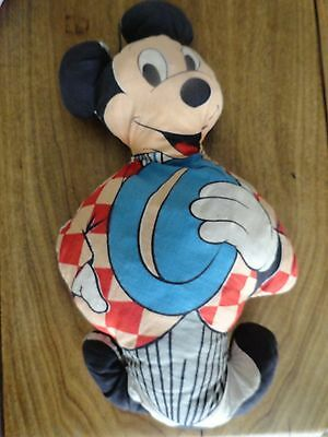 Vintage Plush Hand Made Cloth 1950's Mickey Mouse Doll
