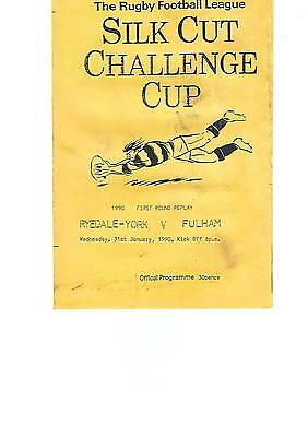 RL Challenge Cup First Round Replay RYEDALE-YORK v FULHAM 31st January 1990