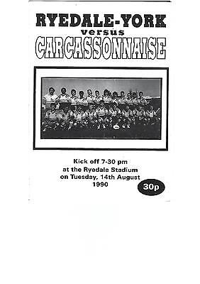 Pre-season friendly 4-page programme RYEDALE-YORK v CARCASSONNE 14 August 1990