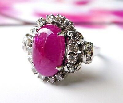 Vintage Ruby and Diamond 5K White Gold Ring With Beautiful Filigree Setting