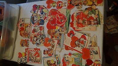 Vintage Lot Of 92 Assorted Valentine Cards 1930's- 50s CUTE FREE SHIPPING!!!