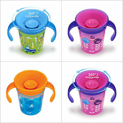 Munchkin Miracle 360 Degrees Deco Baby Kids Trainer Cup,177 ml - Pink,Blue,Green