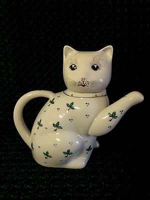 Vintage White Cat Creamer/Tea Pot - Green Floral Pattern