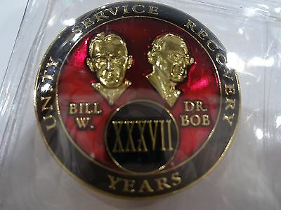 AA Bill/&Bob Red Gold 41 Year Coin Tri-Plate Alcoholics Anonymous Medallion+Stand