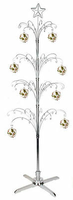 """Metal Rotating 74"""" Christmas Ornament Display Tree Stand in Silver"""