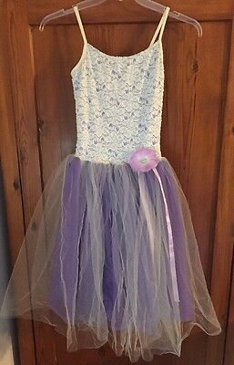 Weissman Designs For Dance Purple And Cream Lace Ballet Costume Child Large