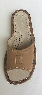 Ladies Womens  Soft Sheep Leather Slippers Shoes Sandal Brown Handmade