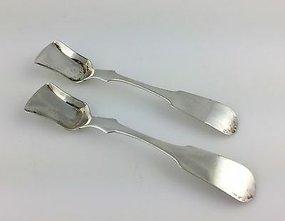 PAIR 19thc. American Fiddle COIN SILVER Salt Shovels Spoons