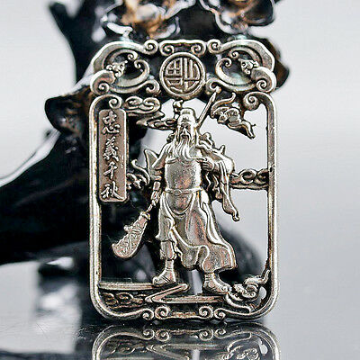 Chinese Collectable Tibet Silver Hand Carved General Guanyu Pattern Amulet D293