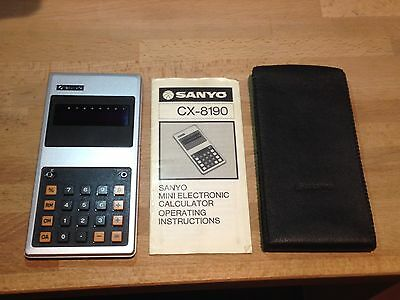 Vintage Sanyo Calculator CX-8190 with Case and Manual
