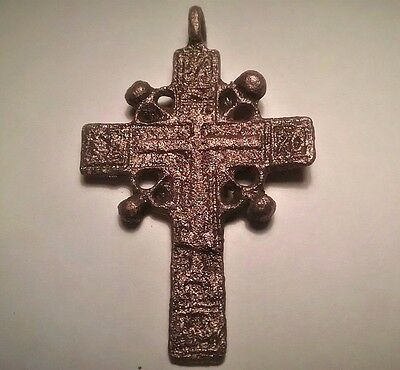 Medieval Cross Relic With Celtic Circle And Crescent Moon (Viking) Symbols