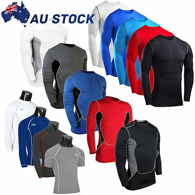 Mens Compression Armour Base Layer Top Long Sleeve Thermal Gym Sports Tee Shirt