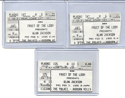 "Alan Jackson. ""3"" Ticket Stubs. Feb.3,1995. The Palace. Auburn Hills, Mi."
