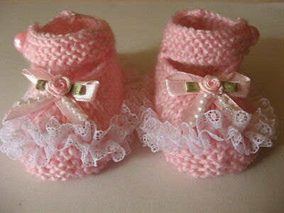 Hand knitted pink baby booties to fit 0-3 months