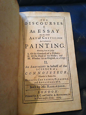 Antique Rare Book Richardson On Painting Two Discourses Art Artist 1725