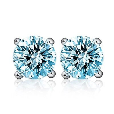 Genuine 1.2ct 5mm Sky Blue Topaz Stud Earrings Solid 925 Sterling Sliver