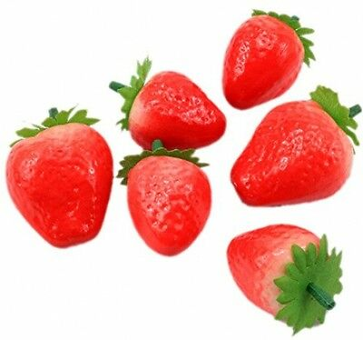 Moolecole 20-Artificial Ornament Red Strawberry-Fake Plastic Fruit Perfect Sale