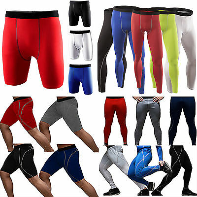 Mens Compression Pants Jogger Fitness Gym Exercise Base Layer Leggings Trousers