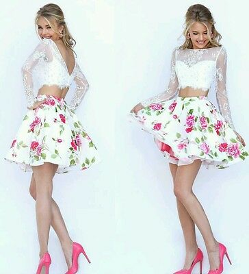 Prom sherri hill 2 piece dress floral size 10 style number 50464