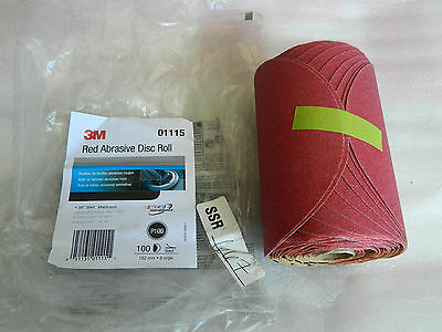 """(1) Brand New 3M 01115 Red Abrasive 100 Disc Roll 6"""" Inch Stikit Grade P100 Grit"""