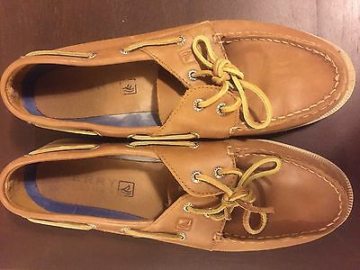 Sperry Top Sider Tan leather mens casual boat shoes size 12M