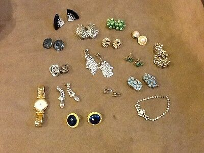 Jewlery Lot 14 Pair Of Earrings, Watch And Braclet Some Signed. Not Junk