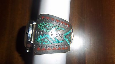 Vintage Native American Silver Turquoise & RED STONE? Watch Band, signed S--D