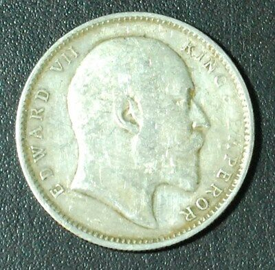 India One 1 Rupee 1907 King Edward VII .917 Silver World Foreign Coin British