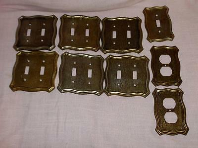 Lot 9 Brass/metal 1968 American Tack & Hardware Co Switch-Outlet Plate Covers