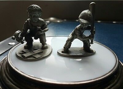 Lennox Silver Inc. Coaster and Two Hudson Pewter Figurines, Little Boys Playing