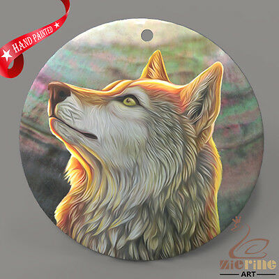 Hand Painted Wolf Shell Jewelry Necklace Pendant ZP30 02108