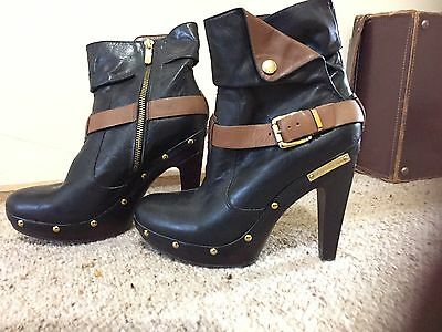Ladies Leather High Platform Ankle Boots Size 7