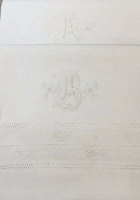 Very Fine Pair Antique White Linen Embroidered Pillowcases