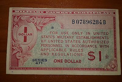 Series 471 $1 One Dollar Mpc Military Payment Certificate  Nice Note !!!