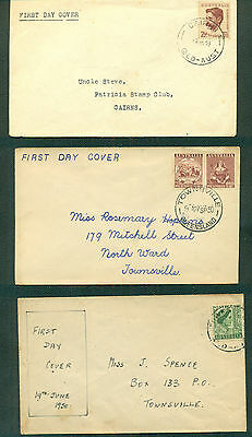 AUSTRALIA 1949-1950 Henry Lawson, First Stamps & Queen FIRST DAY COVERS (3)