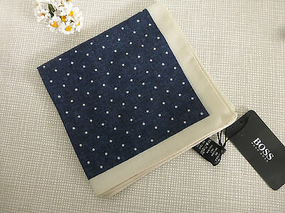 BNWT HUGO BOSS Dark Blue Cream 100% Wool Pocket Square Handkerchief Hankie