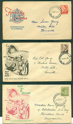 AUSTRALIA 1951 King & Queen definitives FIRST DAY COVERS (3)