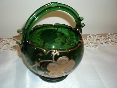 Antique Green And Gold Painted Glass Basket