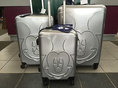 DISNEY HARD CASE SET 3 Piece BRAND NEW MICKEY MOUSE SILVER RRP$837