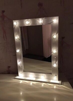 Hollywood Vanity Dressing Table Mirror 14 LED Bulb Mirror White Gloss BNIB