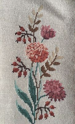 Vintage Tapestry Needlepoint Cream Background Pink Carnations Bud Flowers Floral